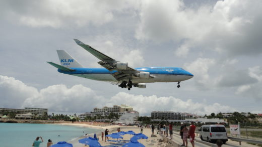 Jumbo da KLM no Saint Maarten Airport SXM Caribe