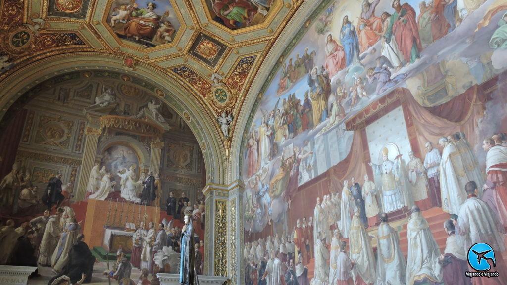 Detalhes teto do Museus do Vaticano atração imperdível