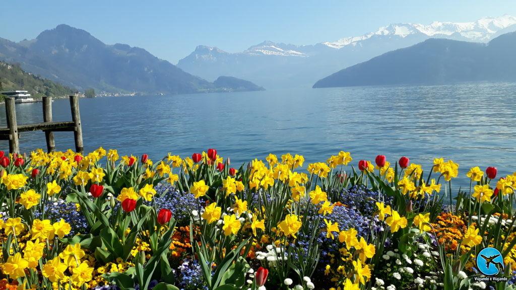 A linda cidade de Weggis na Suíça
