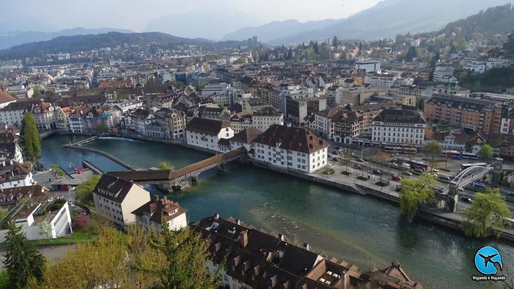 Ponte de Palha - Spreuerbrücke vista aérea de Lucerna