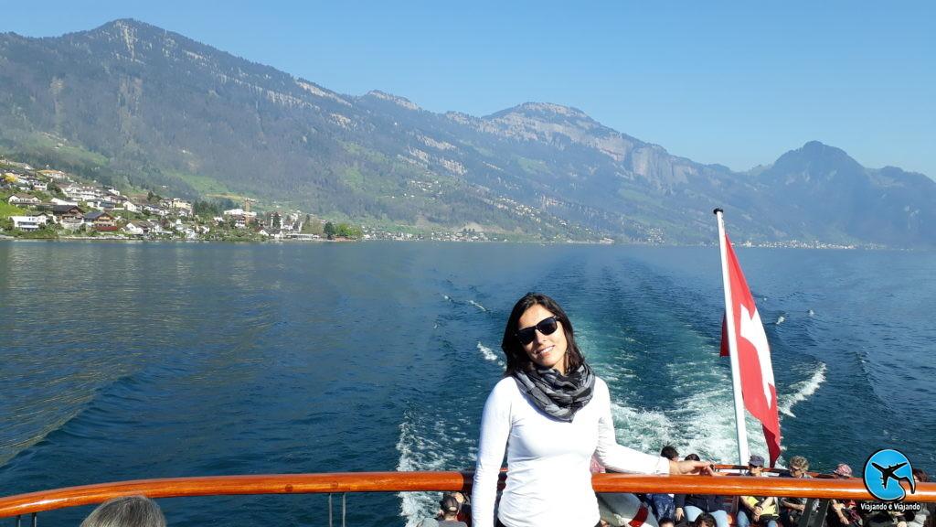 Barco até Vitznau para o Monte Rigi em Lucerna