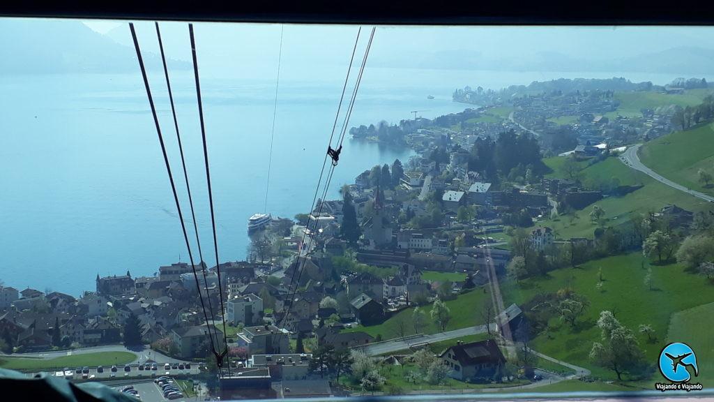 Monte Rigi vista aérea de Weggis do teleférico